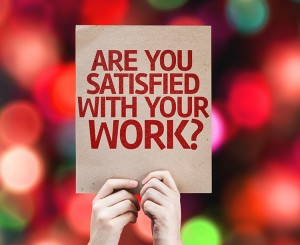 Are You Satisfied With Your Work? card with colorful background