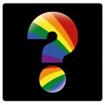 a colored question symbol with the lgbt colors