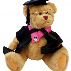Teddy bear sits with graduation cap, gown, and glasses.